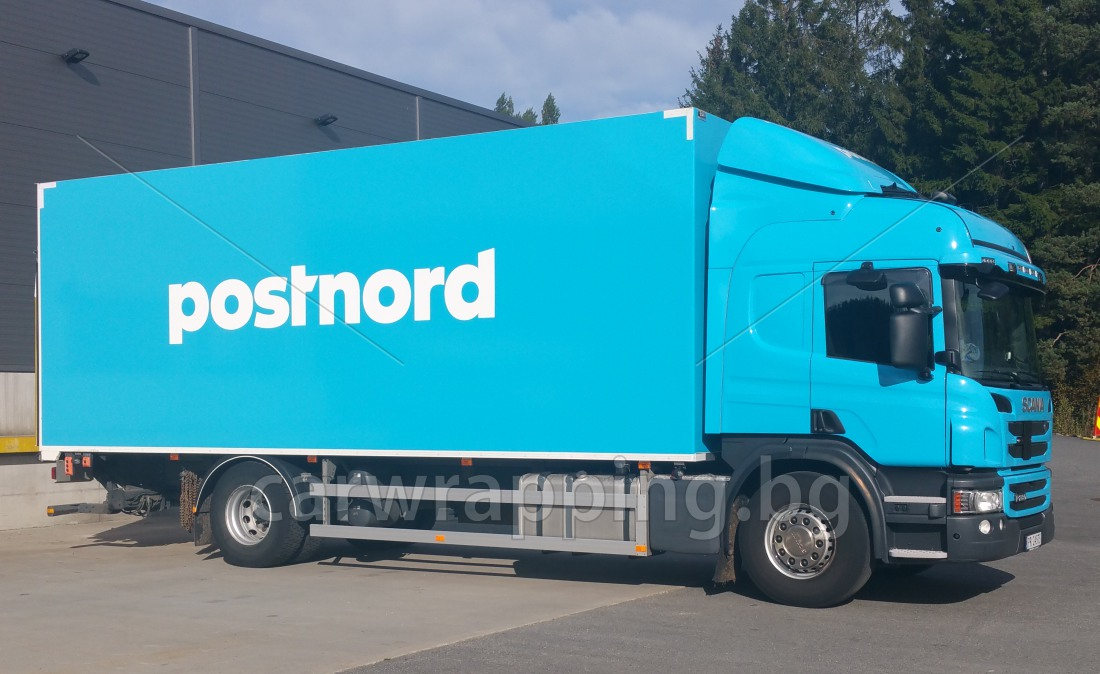 Scania P280 Postnord foliering car wrapping